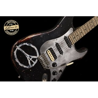 Luxxtone Guitars Choppa S - black over red - peace sign